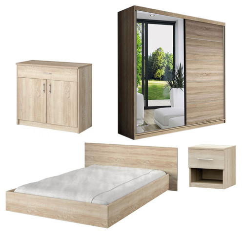 Bedroom LUCCA with Wardrobe, Bed 160cm, Chest of Drawers and Bedside in Oak