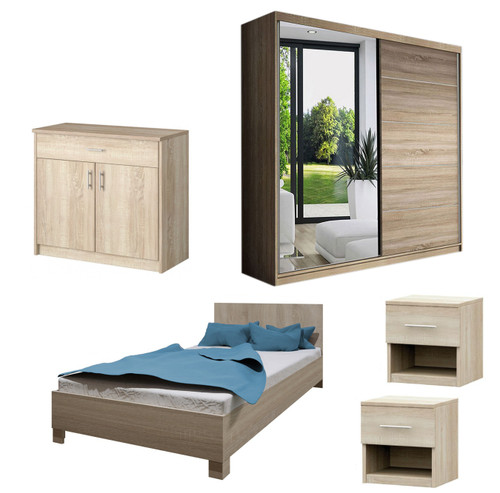 Bedroom LUCCA with Wardrobe, Bed 140cm, Chest of Drawers and 2 Bedsides in Oak