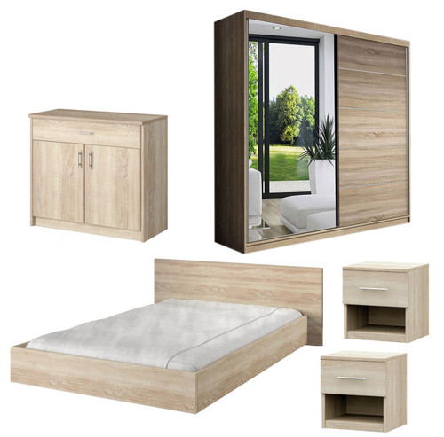 Bedroom LUCCA with Wardrobe, Bed 160cm, Chest of Drawers and 2 Bedsides in Oak
