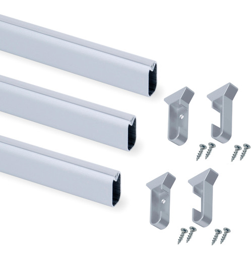 Wardrobe Rail Oval Aluminium Corrugated Hanging Rail Set 300mm - 2350mm