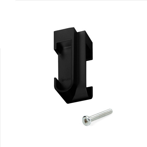Oval Angle Support Black Tube Holder for Wardrobe Rail with Screw