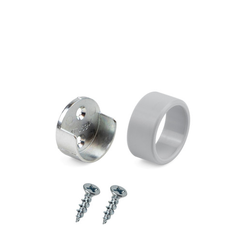 Round End Supports Aluminium Bracket Tube Holder for Wardrobe Rail with Screws
