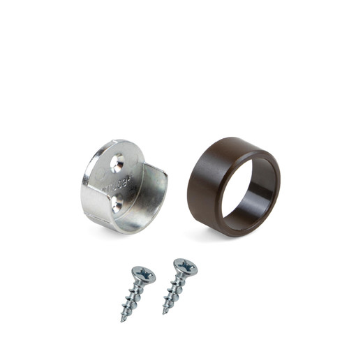 Round End Supports Brown Bracket Tube Holder for Wardrobe Rail with Screws