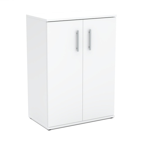 White Mat HIT Chest of Drawers Modern Storage Cabinet with 2 Doors
