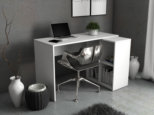 Desk White Mat Desk with Drawer Storage Gaming Writing Table Home Office