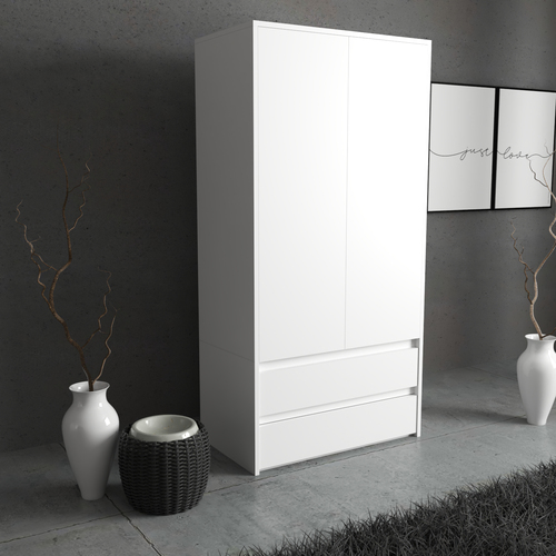 Wardrobe HIT 2D2S 180x90x50cm LED White Mat Hanging Rail Shalves