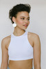 Fresh White Disc Statement Leather Earrings with Round Post