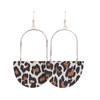 Isla Hoop Snow Leopard Leather Earrings   Nickel & Suede