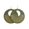 Olive Sunburst Nova Leather Earrings | Nickel and Suede