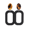Black Bloch Leather Earrings with a Tortoise Post | Nickel and Suede