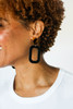 Select Black Bloch with Tortoise Post Leather Earrings