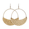 Gold Hammered Aster Crescent Hoop   Nickel and Suede