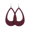 Select Burgundy Cut-Out Leather Earrings   Nickel and Suede
