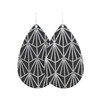 Black with Silver Nouveau Leather Earrings | Nickel and Suede