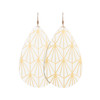 White with Gold Nouveau Leather Earrings | Nickel & Suede