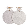Silver Leaf Floret Disc Leather Earrings | Nickel and Suede