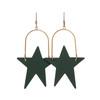 Select Green Superstar Hoop Leather Earrings | Nickel and Suede