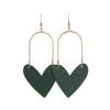 Select Green Sweetheart Hoop Leather Earrings | Nickel and Suede