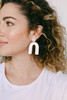 Select White Beau Leather Earrings | Nickel and Suede