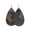 Camo Suede Teardrop Leather Earrings | Nickel and Suede