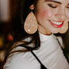 Nickel & Suede Leather Earrings │Gold Cork