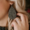 Nickel & Suede Leather Earrings | Smokey Quartz