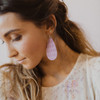 Nickel & Suede Leather Earrings | Lilac Mist Cord