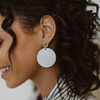 Nickel & Suede Leather Earrings | Silver Leaf Disc Statement