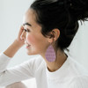 Nickel & Suede Leather Earrings   Lilac Mist Cord