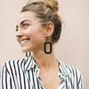 Black Bloch Leather Earrings with Tortoise Post