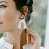 White Beau Leather Earrings with B&W Post