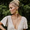 Citron Bloch Leather Earrings with Wood Post