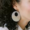 Gray Sunburst Nova Leather Earrings