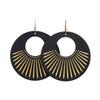 Black Sunburst Nova Leather Earrings   Nickel and Suede