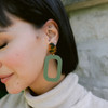 N&S Select Olive Bloch Leather Earrings with Tortoise Post