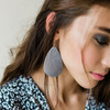 Gunmetal Leather Earrings