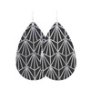 Black and Silver Nouveau Leather Earring | Nickel and Suede