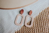 Canyon Coral Bloch Leather Earring with Wooden Post