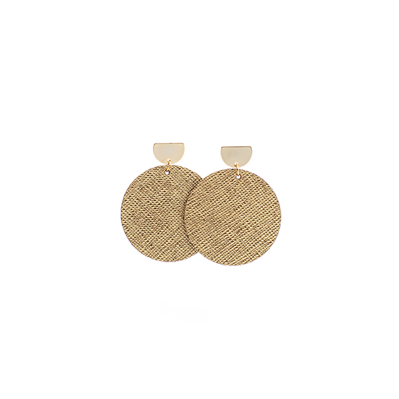 Gold Leaf Disc Statement Leather Earrings with Gold Post