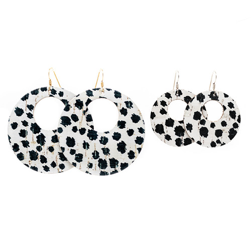 Mini Spotted Cork Nova Leather Earrings