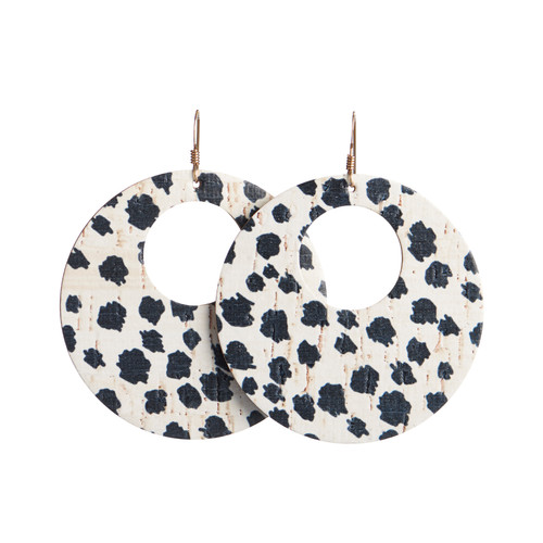 Spotted Cork Nova Leather Earring | Nickel and Suede