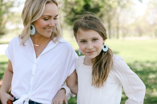 Mom & Mini N&S Select Mint Nova Leather Earrings Set