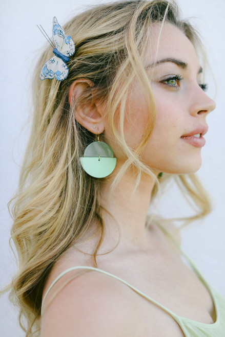 Key Lime Luna Leather Earrings