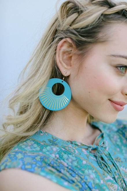 N&S Select Turquoise Sunburst Nova Leather Earrings