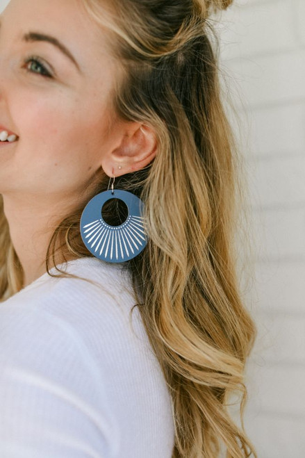 Cornflower Sunburst Leather Earring | Nickel and Suede