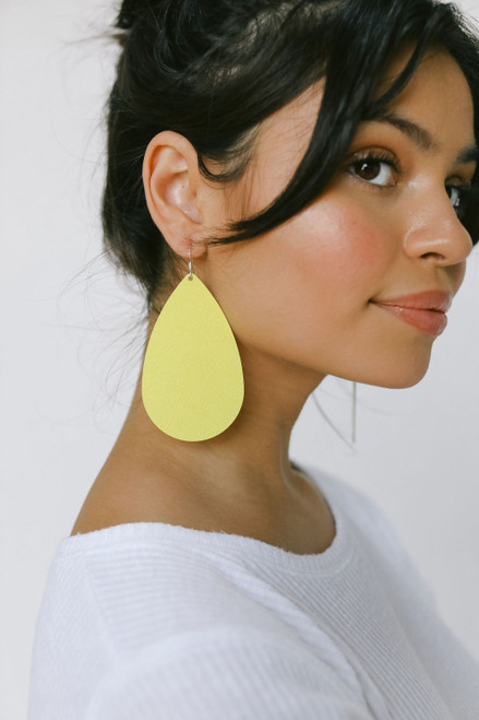 Lemon Burst Leather Earrings