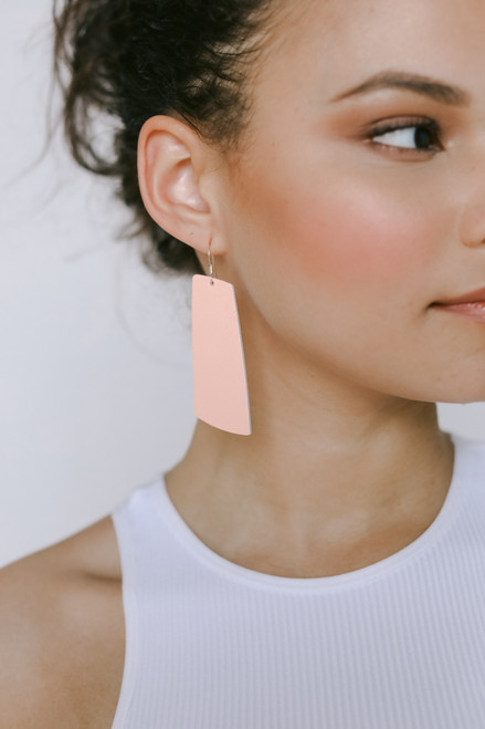 Coral Blush Gem Leather Earrings