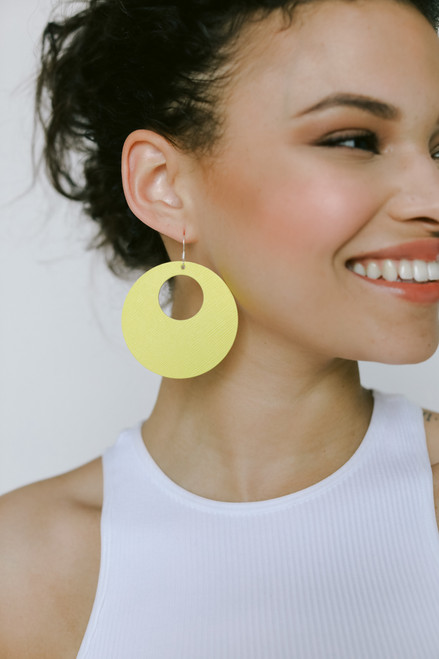 Lemon Burst Nova Leather Earrings