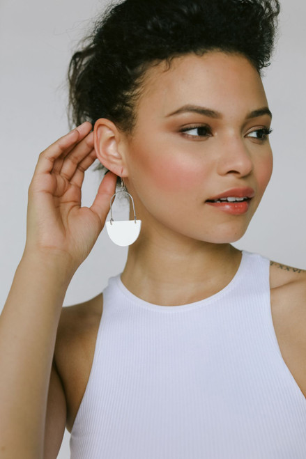 Isla Hoop Select White Leather Earrings
