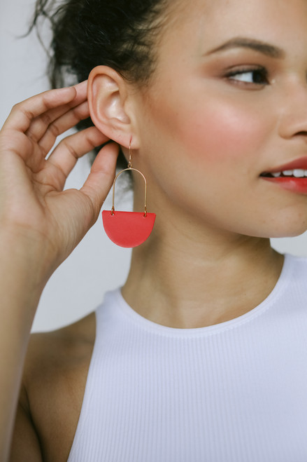 Isla Hoop Select Crimson Leather Earrings